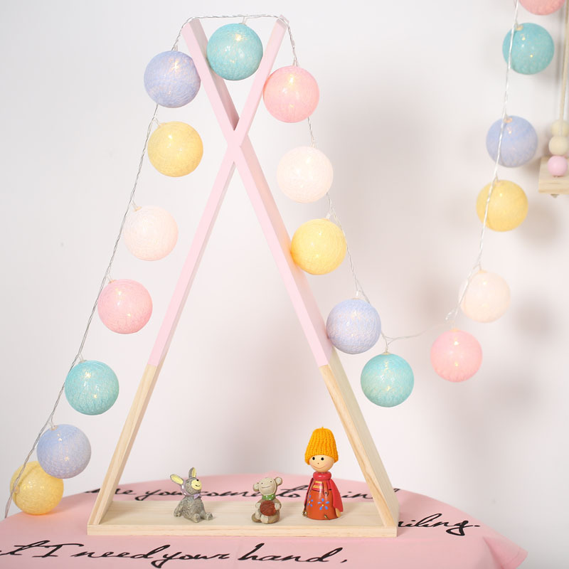 Cotton Ball Led Light String Holiday Lights Kids Play Tents Hanging Decoration Lamp Christmas Wedding Decorative Lantern 1.5/3m