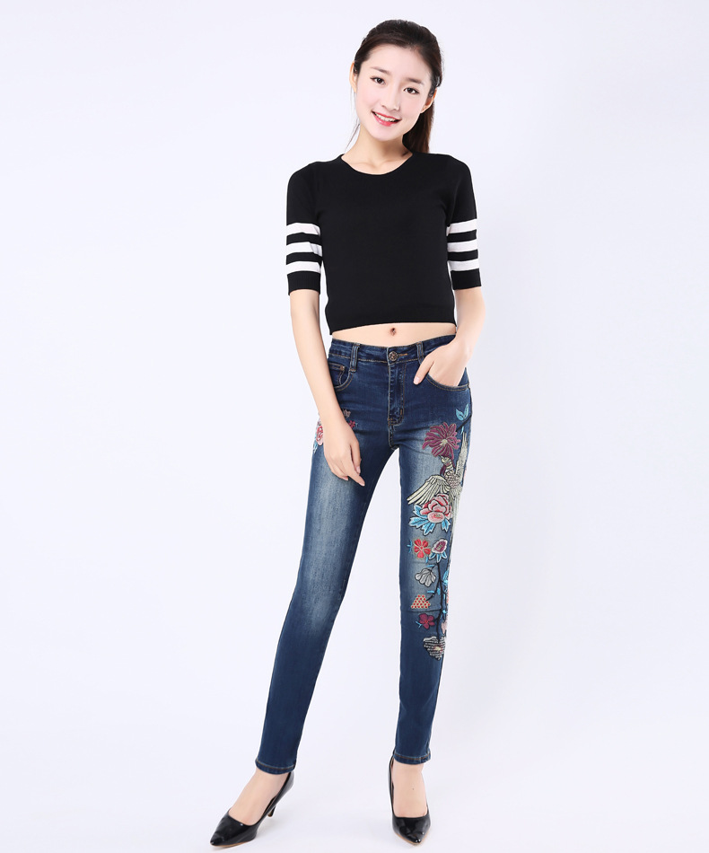 FERZIGE Women Fashion Jeans Slim Fit Embroidered Flowers Quality Brand Blue Stretch Denim Pants