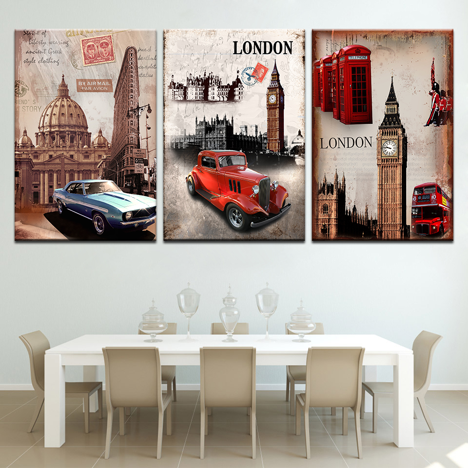 Home Decorative wall Art Picture Paint on Canvas Prints 3 Piece Free Shipping Hot Sell Modern Wall Painting London city scenery