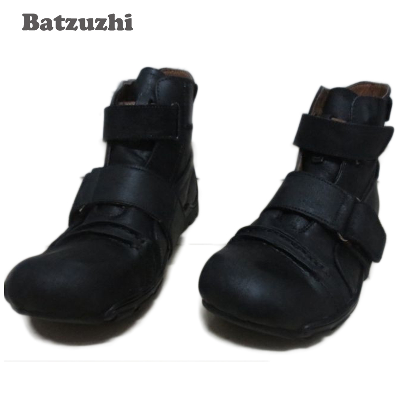 Batzuzhi New Design Super Cool Men Boots Ankle Black Genuine Leather Ankle Men's Boots, Brand Men's casual footwear Personality