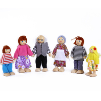 Free Shopping Hot Childs Wooden Family Puppets Cartoon Toys Movable Dolls Dolls Early Learning Story Teaching