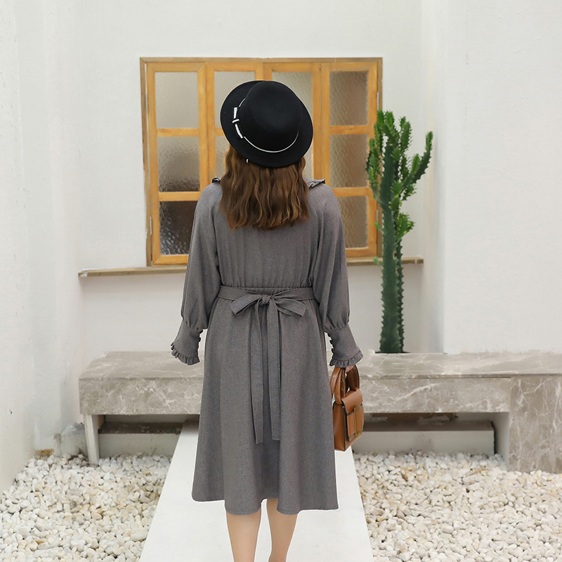 Summer Women Dress Leisure Increase Section Body Thin Over Knee 2019 New Fashion Korean Version Flower Long Sleeve Ladie Dresses in Dresses from Women 39 s Clothing