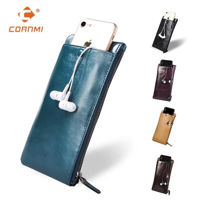 Universal Carteira carteras monedero del cuero genuino para iphone 7 7 más 5 SE 6 6 S Plus funda para Samsung Cornmi moda
