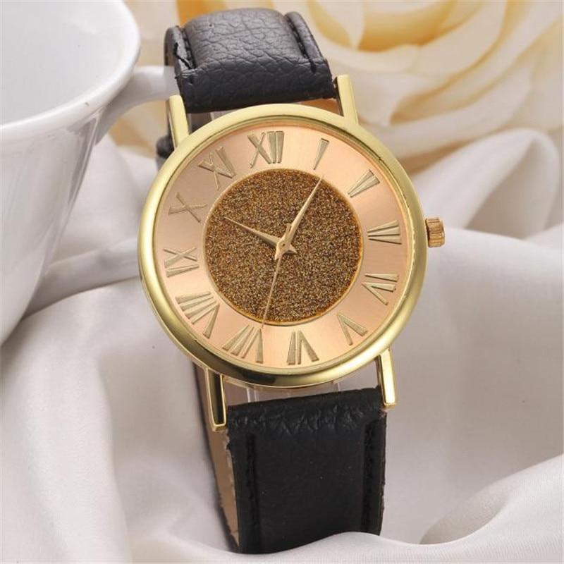 """2018 metų patvarus mados laikrodis vyrams moterims relogio vyriški laikrodžiai moterims """"Glitter Dial"""" odos juosta, analoginis kvarcinis laikrodis"""