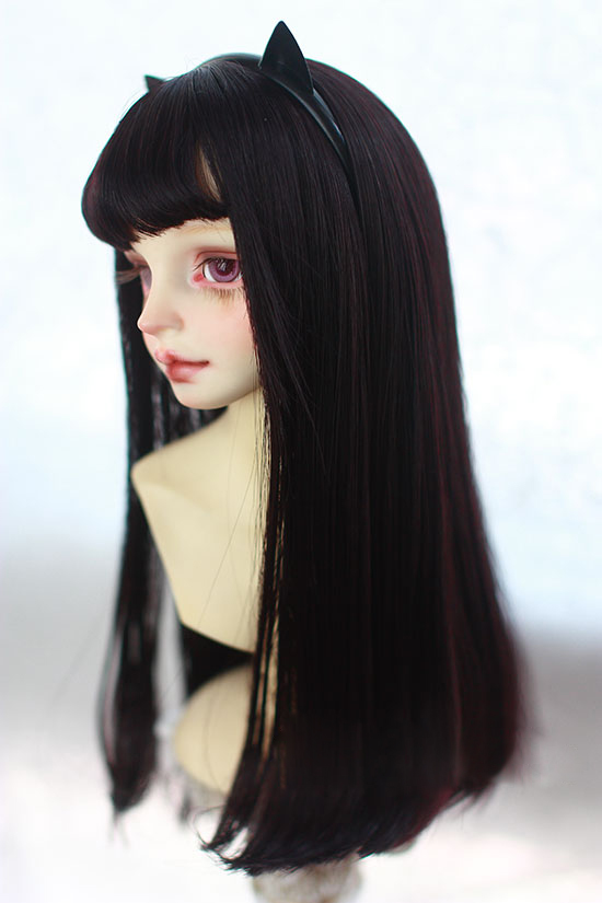 BJD Doll Wigs Black Purple High-temperature Wire Air Bang Long Wigs For 1/3 1/4 1/6 BJD DD SD MSD YOSD Doll Wigs