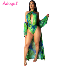 Adogirl Tropical Print Holiday Summer Beach 2 Piece Set Women Sexy V Neck Halter Backless Swimwear Long Sleeve Cardigan Bodysuit