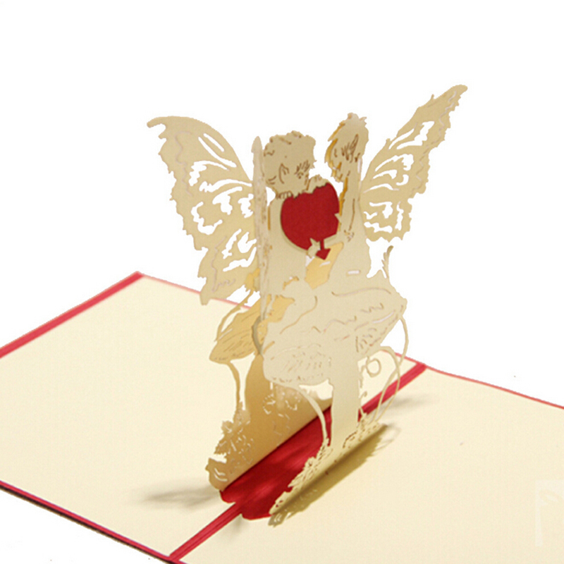 5 pieceslotromantic angel heart style 3d greeting card