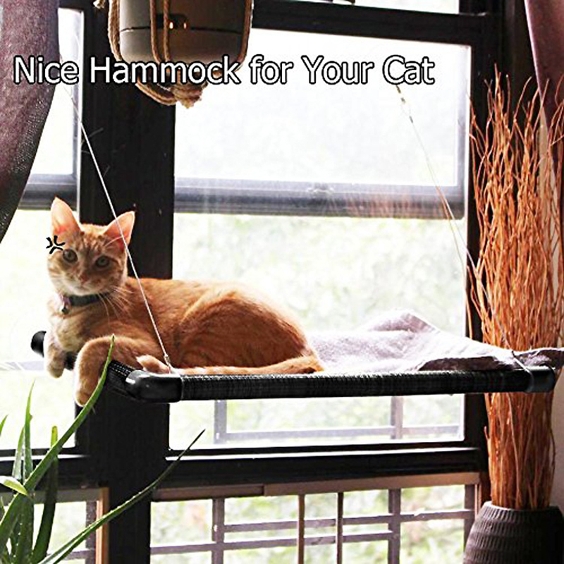 DnnyKarl Cute Pet Suspension Beds Rolling 26 kg Sunny Seat Cat Window Mount Comfortable Netting Cat Long Plush Soft Bed For Pet