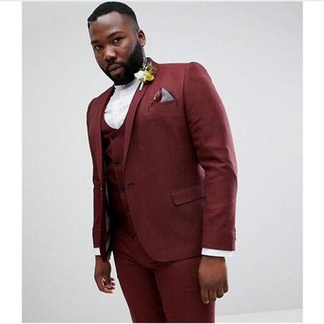 Burgundy Plus Size Wedding Suits Slim Fit 3 Pieces Groom Tuxedos