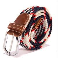 Hommes boucle Ardillon ceintures Tressé Élastique Extensible Croix Boucle Casual ceinture ceinture de Toile Ceinture Expédition libre