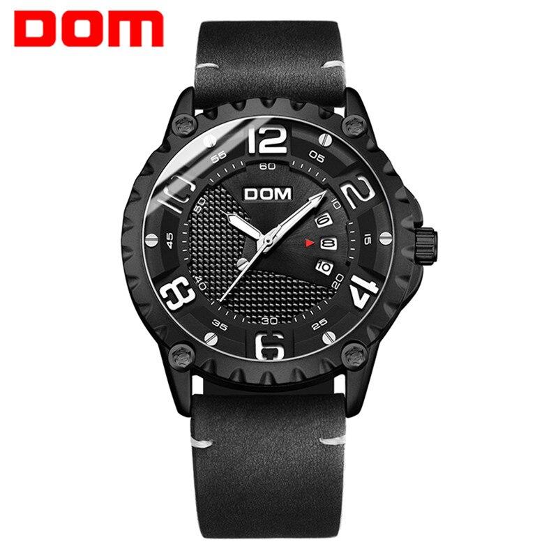 DOM Watch Men Fashion Quartz Clock Mens Watches Top Brand Luxury Sport Leather Waterproof Watch Calendar Relogio Masculino 2018