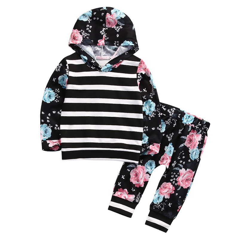 Floral Kids Clothes 2017 New Toddler Baby Girls Long Sleeve Hooded Sweatshirt Tops Pant 2PCS Outfit
