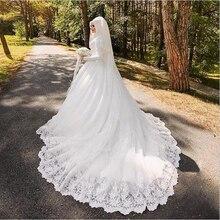 Arabic Muslim Bride Dress with Long Trail Luxury Full Sleeve Woman Appliqued Hijab Wedding Dresses Robe De Mariage