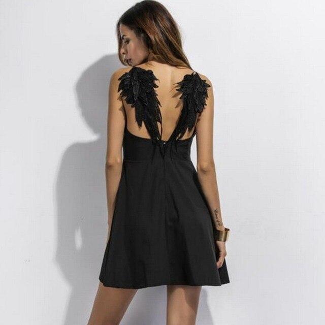 Gothic Spaghetti Strap Short Dress Women Zipper Sleeveless A Line Black Dress 2 Colors