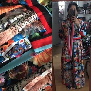 Image 5 - 활주로 맥시 드레스 2019 여성 고품질의 활 목 빈티지 동물 인쇄 층 길이 긴 파티 드레스 vestidos 가운 femme
