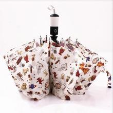 Super waterproof bears an umbrella Uv folding umbrella rain women high quality vinyl self opening umbrella