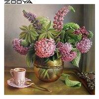 ZOOYA Diamant Stickerei 5d DIY Diamant Malerei Tee-Set Rosa Lila Blumen Bestickt Mit Strass Kreuzstich Kits R773