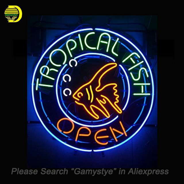 Tropical Fish Neon Signs Open Handcrafted Bulbs Gl Decorate Beer Bar Pub