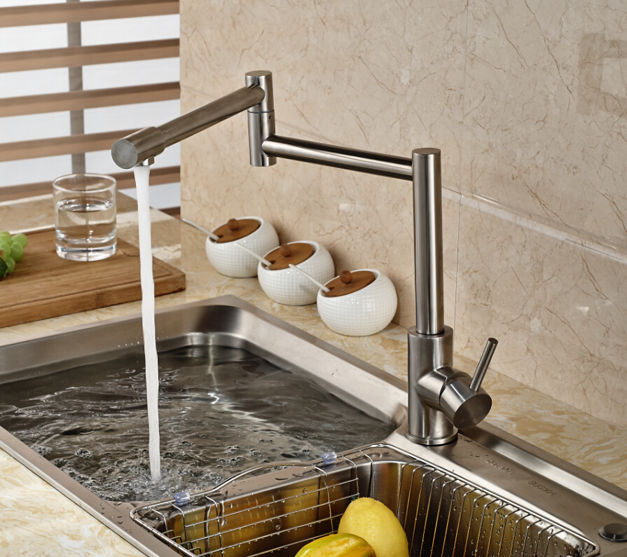 Nickel Brushed Kitchen Faucet Extent Spout Vessel Sink Mixer Tap Single Handle Hole Vanity Mixer new pull out sprayer kitchen faucet swivel spout vessel sink mixer tap single handle hole hot and cold