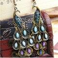 Azul pavão do vintage estilo nacional brincos de cristal brincos de jóias para as mulheres