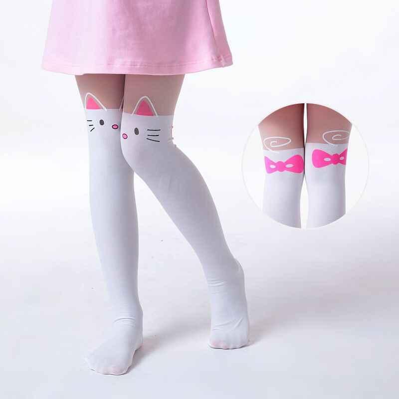 590d5ab91c Summer Children s Baby Kids Girls Thin Tights Pantyhose Knee Fake Tattoo  Velvet Stocking white Cartoon Kitty
