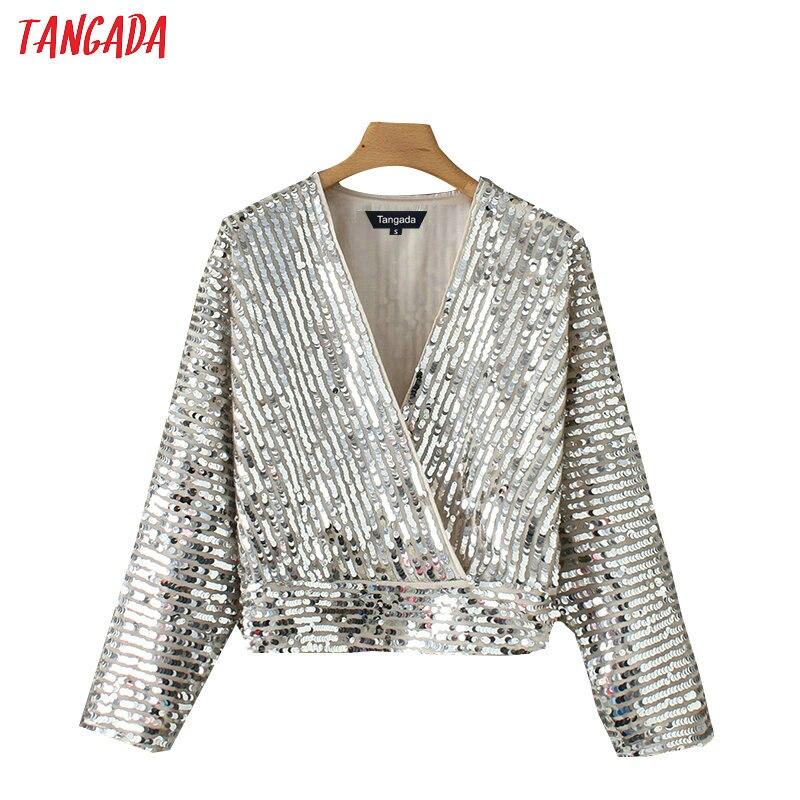Tangada femmes kimono en argent blouse à paillettes coréenne chic à manches longues col en v chemise de culture europe sexy hauts fête YD206