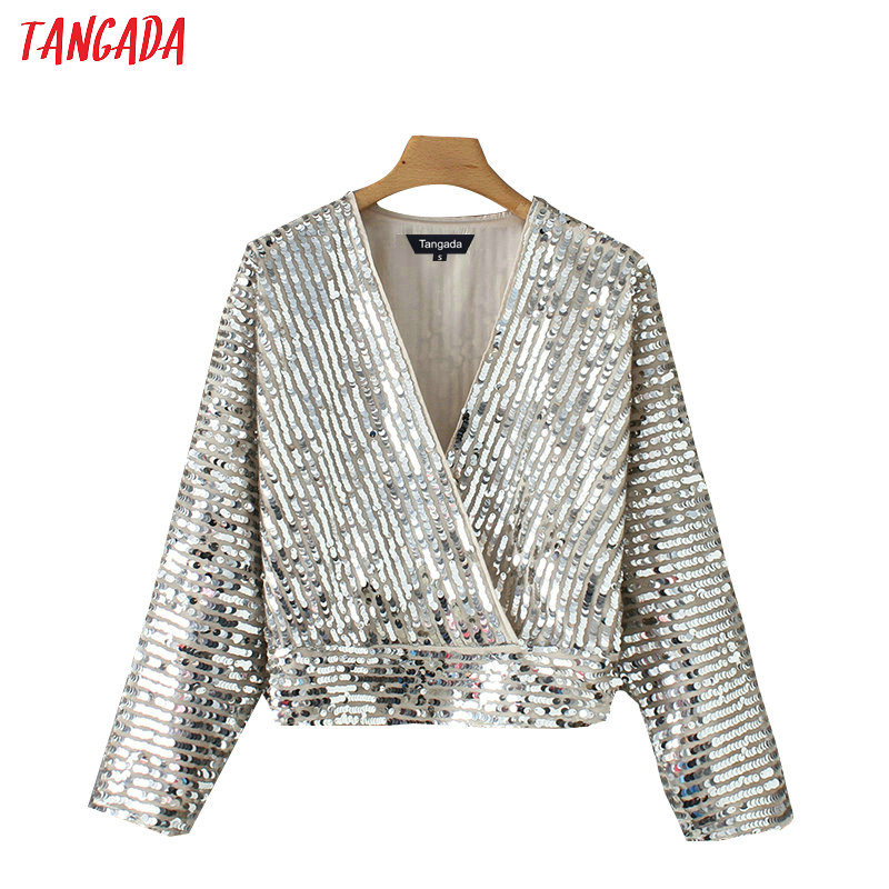 Tangada women silver kimono   blouse   sequined korean chic long sleeve v-neck crop   shirt   europe sexy party tops YD206