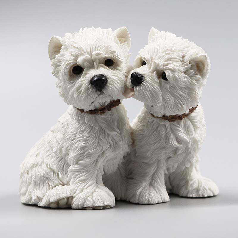 Mnotht 1/6 West Highland Lovers Dog Dog Model Resin Resin Anmial Dog - Խաղային արձանիկներ - Լուսանկար 2