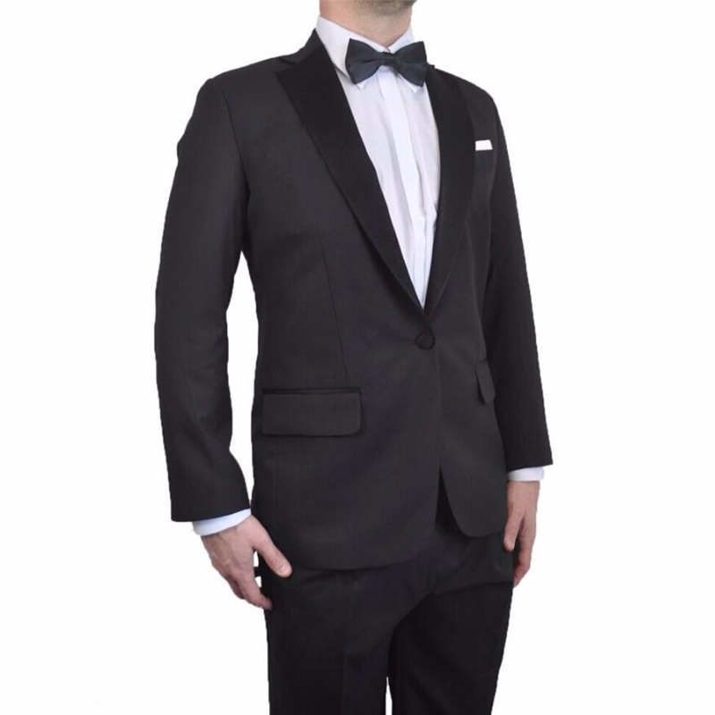 HB044 Black Satin Collar Two Buttons Black Groom Tuxedos Notched Lapel Groomsmen Best Man Mens Wedding Suits (Jacket+Pants)