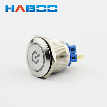 10pcs/lot stainless steal material reset electrical switch with led power symbol head push button switch 1NO+1NC