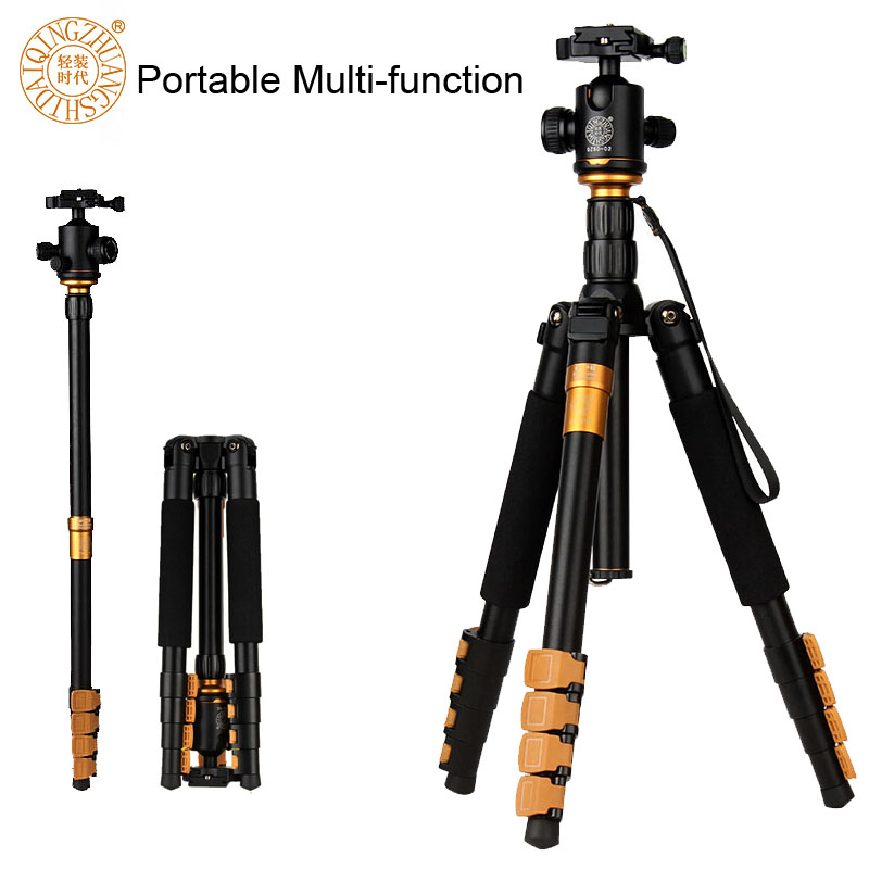 QZSD Q570A Professional Tripod Monopod for DSLR Camera Ball Head Travel Portable Reflexed Photography Tripod Loading up to 13lb new qzsd q668 60 inch professional portable camera tripod for canon nikon sony dslr ball head monopod tripod stand loading 8kg