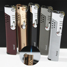 Зажигалка для труб, компактная струйная зажигалка, газовая зажигалка, зажигалка с фиксированным огнем, ветрозащитная металлическая турбо зажигалка для сигар, 1300 с, Бутановая