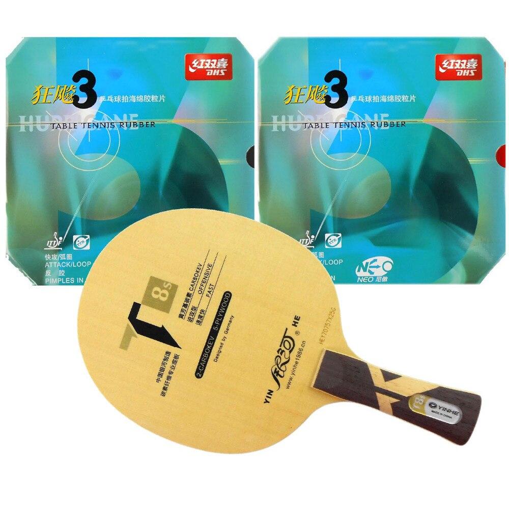 Pro Table Tennis (PingPong) Combo Paddle / Racket: Yinhe T8s + 2 Pcs DHS NEO Hurricane3 Long Shakehand FL