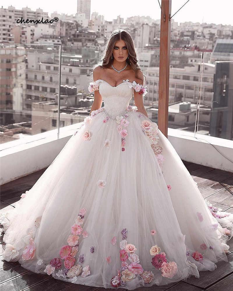 Vestido דה Noiva כדור שמלת חתונה לבנה שמלות 2019 כבוי כתף מתוקה שרוכים 3D פרח שמלת כלה כלה שמלות