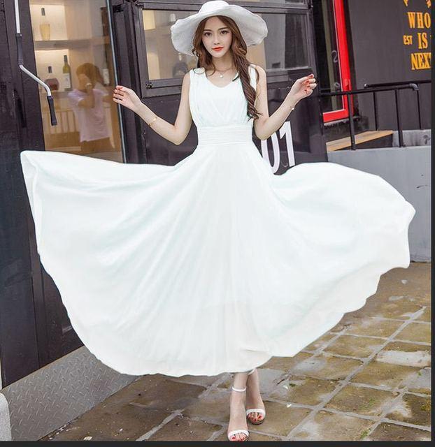 Plus Size 5XL Elegant Sleeveless Chiffon Dress Women Fashion 2019 Summer Sundress Bohemian BeachBoho Chic Long Maxi Dress Tunic