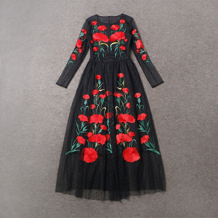 Fashion Show 2016 Robe Femme Spring Autumn Women Dresses Black Mesh Robe Sexy Full Dress Red Embroidery Flowers Long Dress - 2