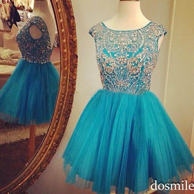 Vestido azul agua curto