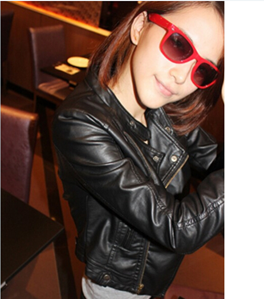 women fashion slim high quality Leather jackets coat  Free shipping