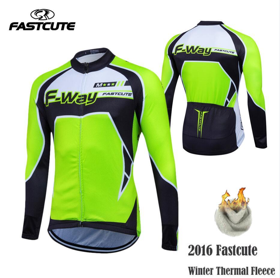 Fastmignon chaud 2019 Pro hiver thermique polaire cyclisme Jersey Ropa Ciclismo vtt manches longues hommes vêtements de vélo vêtements Maillot # XL-01