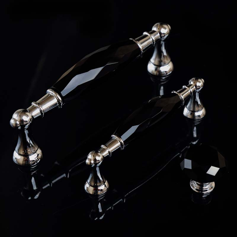 96mm 128mm modern fashion deluxe black crystal wine cabinet watch tv table handles silver chrome dresser drawer knobs pulls 5 бологова в моя большая книга о животных 1000 фотографий