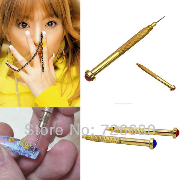 Free Shipping! Christmas Gifts Nail Art Hand Dangle Drill Hole Maker Dotting Pen Uv Gel Acrylic Tip Piercing Tool 131-0059