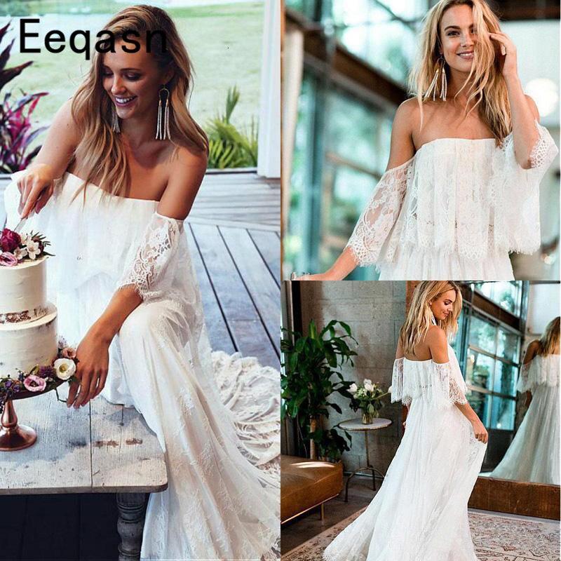 Bohemian 2019 Lace Wedding Dresses Long Off The Shoulder A-line Short Sleeve Chic Beach Boho White Wedding Gown Bride Dress