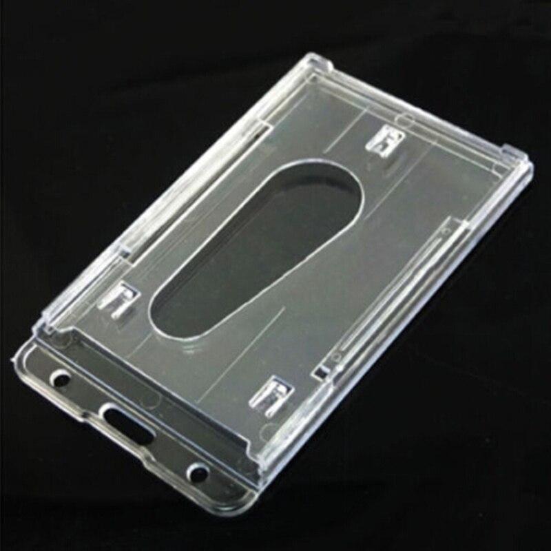 Transparent Plastic Thumb Slide Out Pocket Business Credit Card Holder Case Desk Organizer Accessories 100x60mm Desk Accessories & Organizer