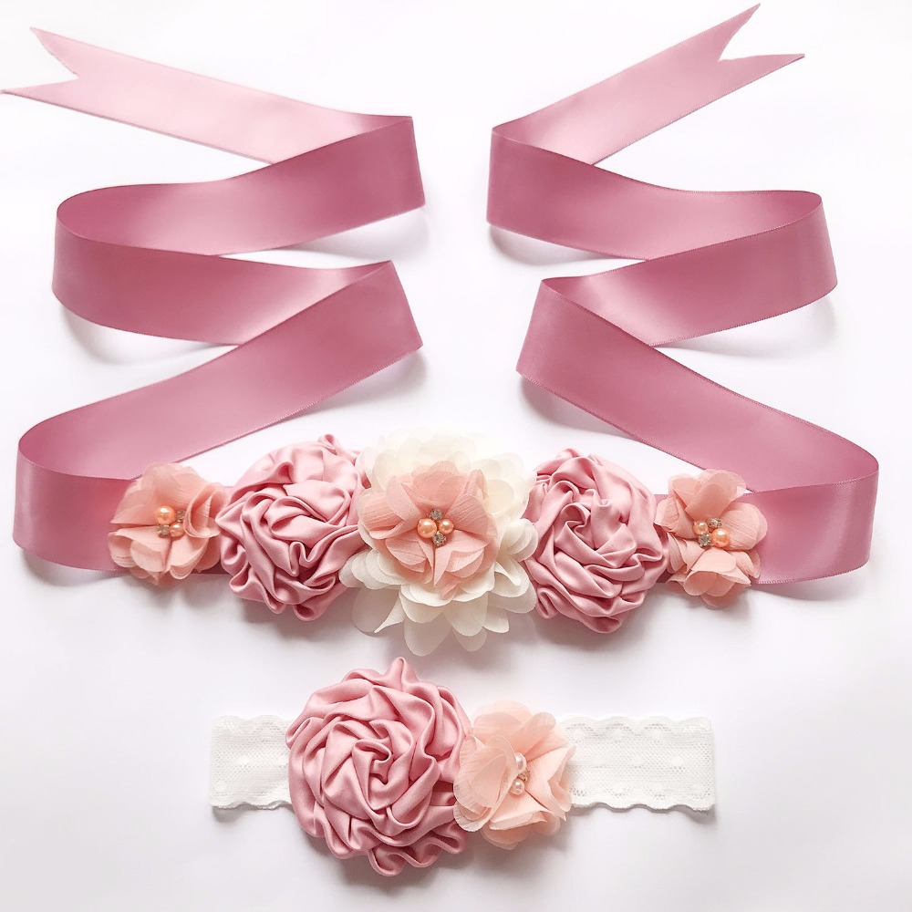 Vintage New Silk Ribbon Flower Belts Girl Woman Sash Belts With Children Flower Headband Fashion Wedding Accessory Decorations