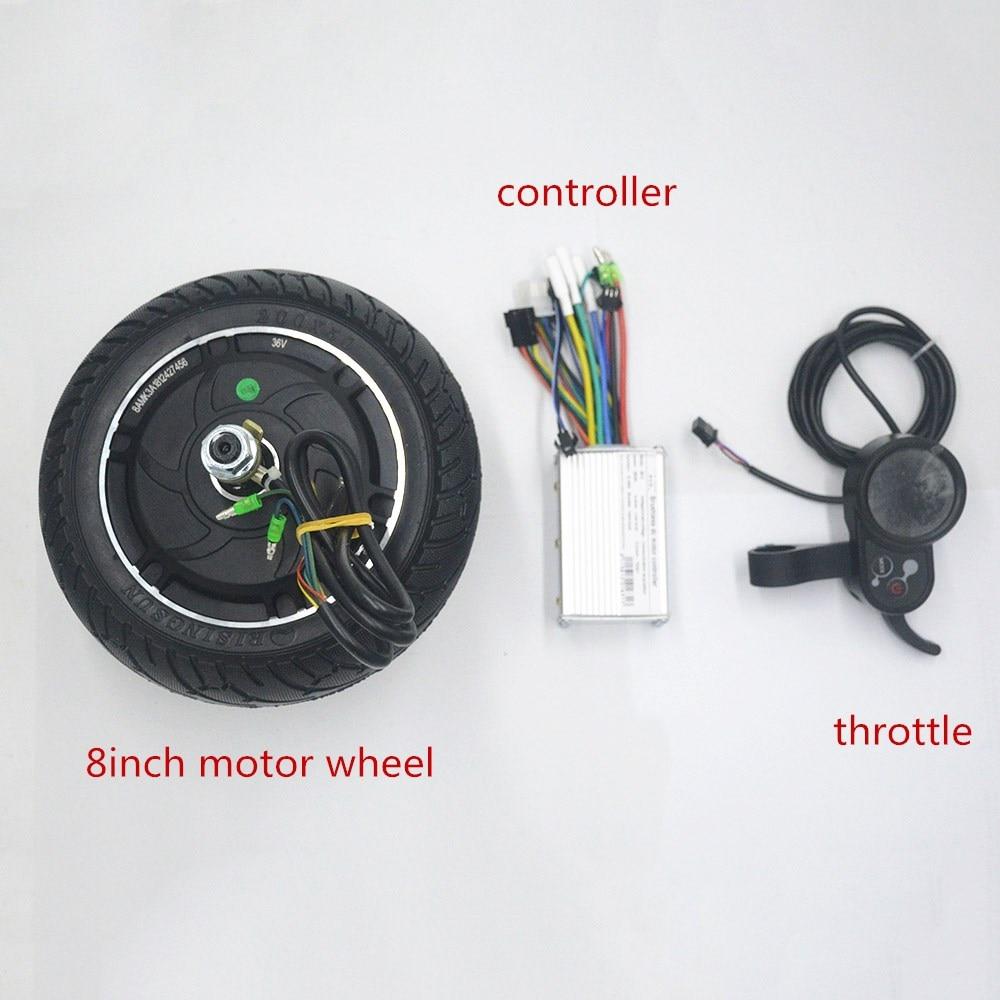 Roue de moteur de scooter électrique de 24 V 36 V 48 V 350 W avec le kit d'accélérateur d'affichage de contrôleur pour le Scooter/ebike/xiaomi scooter 8 pouces