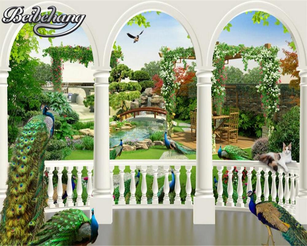 fantasy peacock palace garden wall bird custom 3d beibehang walls paper