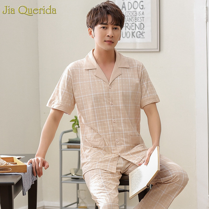 Cotton Pajamas For Men 2019 New Sleeping Suits Men Plus Size Xxxl High Quality 100% Pure Cotton Pajamas Short Sleeve Long Pants
