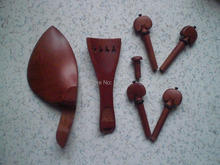 4 Sets Jujube Violin parts with Tail piece & chin rest & pegs & end pin 4/4
