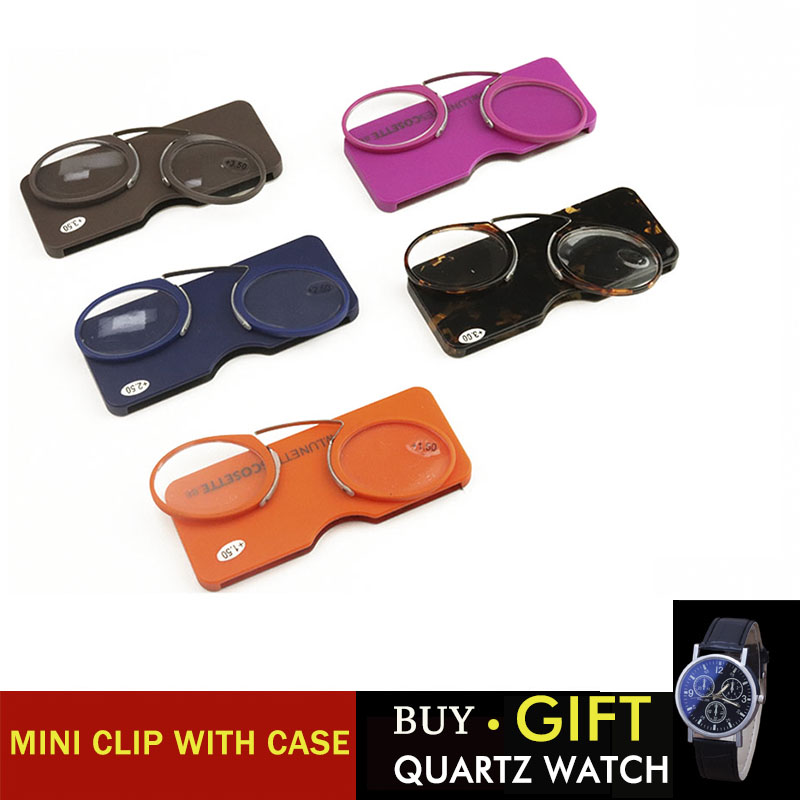 e06dcfdb5e43 Final Crazy Promotion discount MINI clip nose bridge reading glasses 1.0 to 3.5  Portable Wallet presbyopic glasses with Case