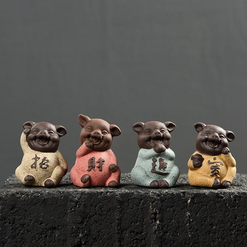 Čaj Pet Dekorace Krásný Prase Čaj Domácí mazlíček Vysoce kvalitní fialová jíl Čínská Kung Fu Čajové doplňky Domácí stůl Dekor K019